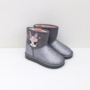 H&M Toddler girl glitter bunny boots